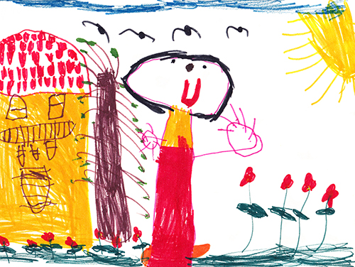 children kid art drawing fridge draw colour color