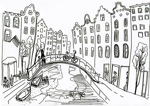 colour circle shapes basic drawing bicycle abstract amsterdam river boats yacht boat
