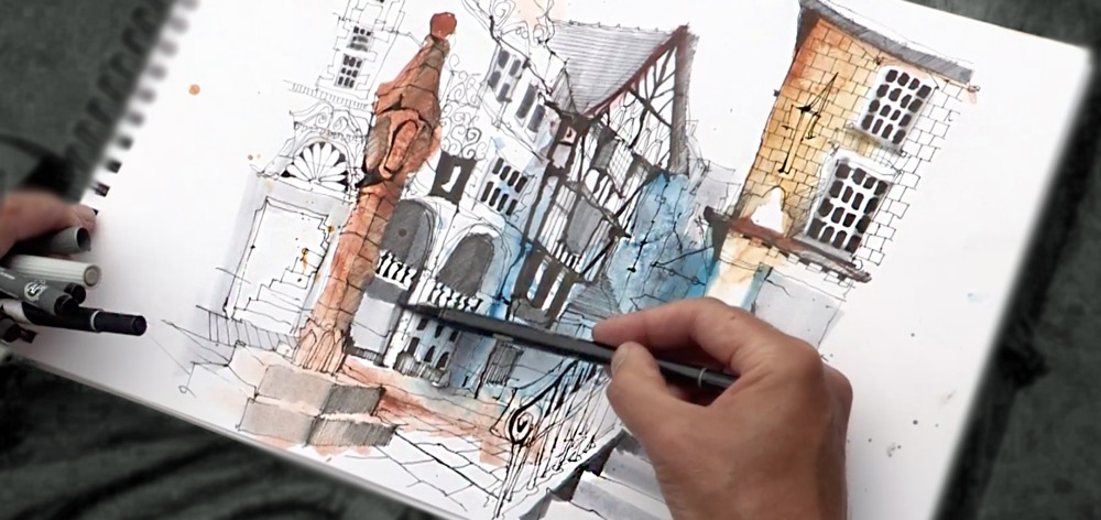 art urban sketch training with ian fennelly watercolour