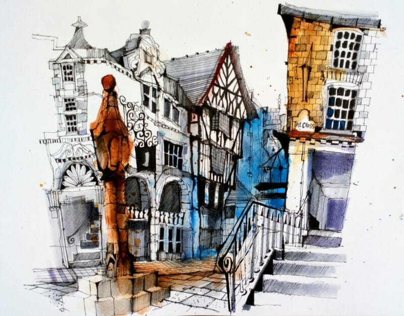 Ian Fennelly. Chester Cross Urban Sketch art