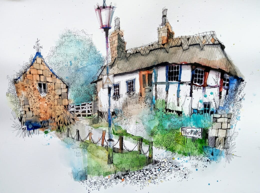 Cheshire Chester countryside village urban sketch