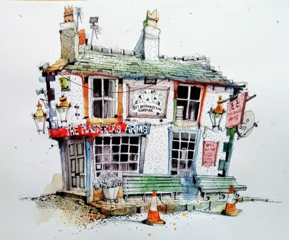 Plasters arms hoylake village urban sketching