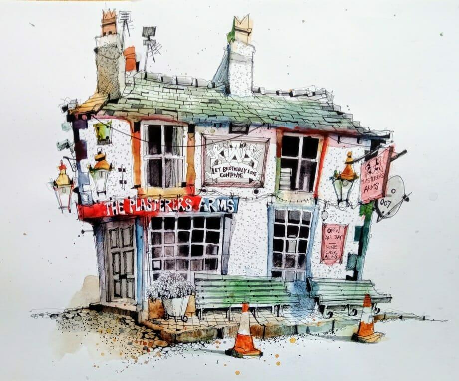 ian fennelly urban sketching plasterers arms hoylake