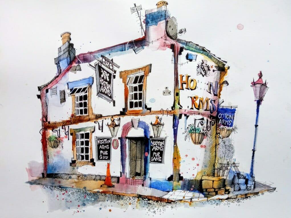 ian fennelly urban sketching hooton arms pub