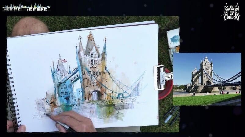 ian fennelly tower bridge urban sketch