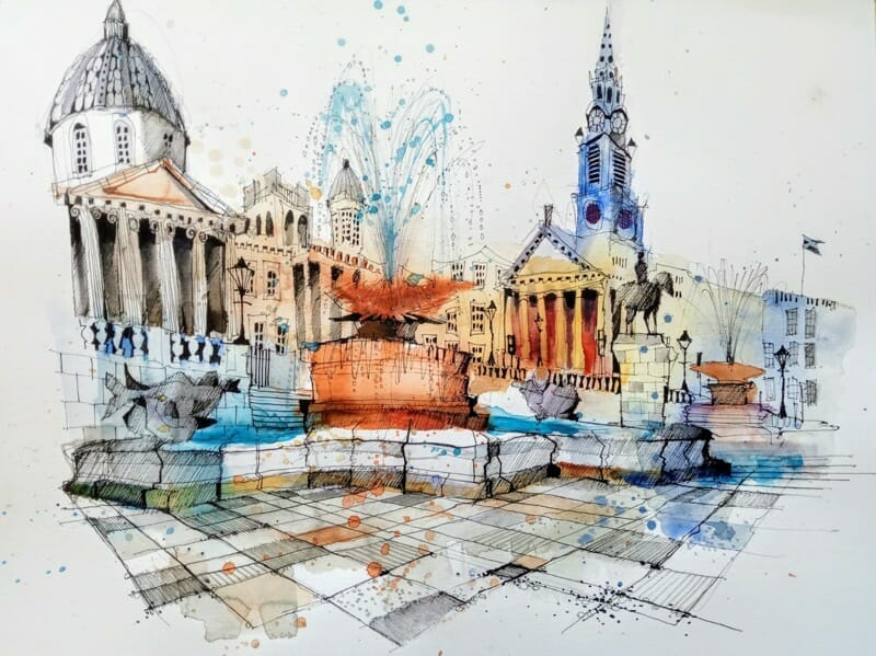 Trafalgar square london water fountain paint urban sketch art