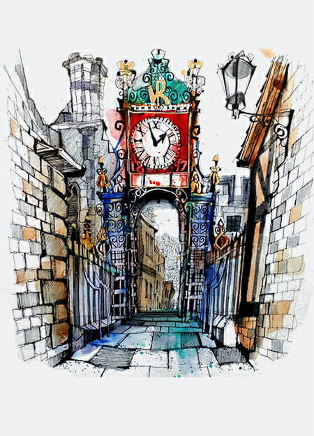 Eastgate clock chester certified course urban sketch