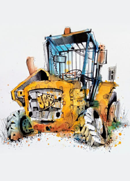 Urban Sketch  Junkyard Sketching Course vintage old cars truck jcb