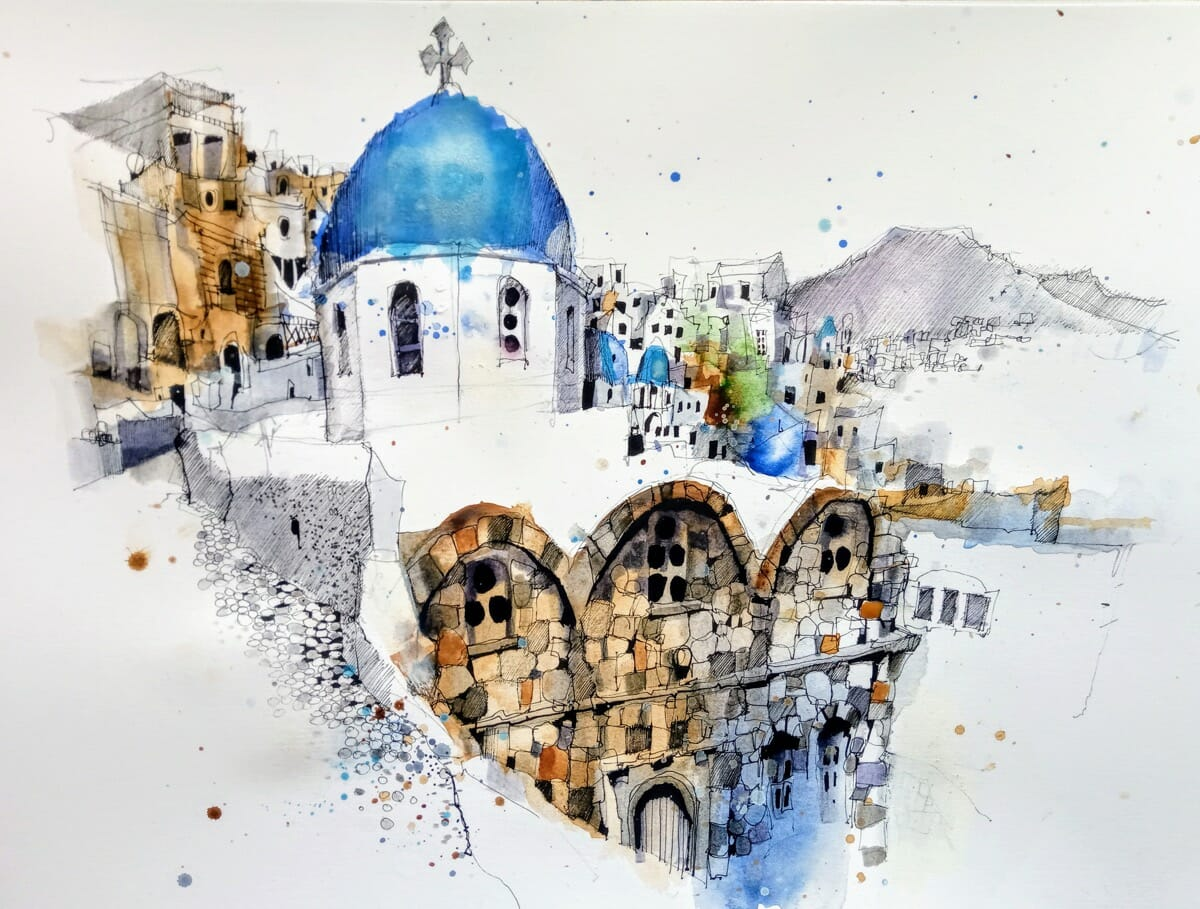 Santorini Greece world urban sketch usk watercolor