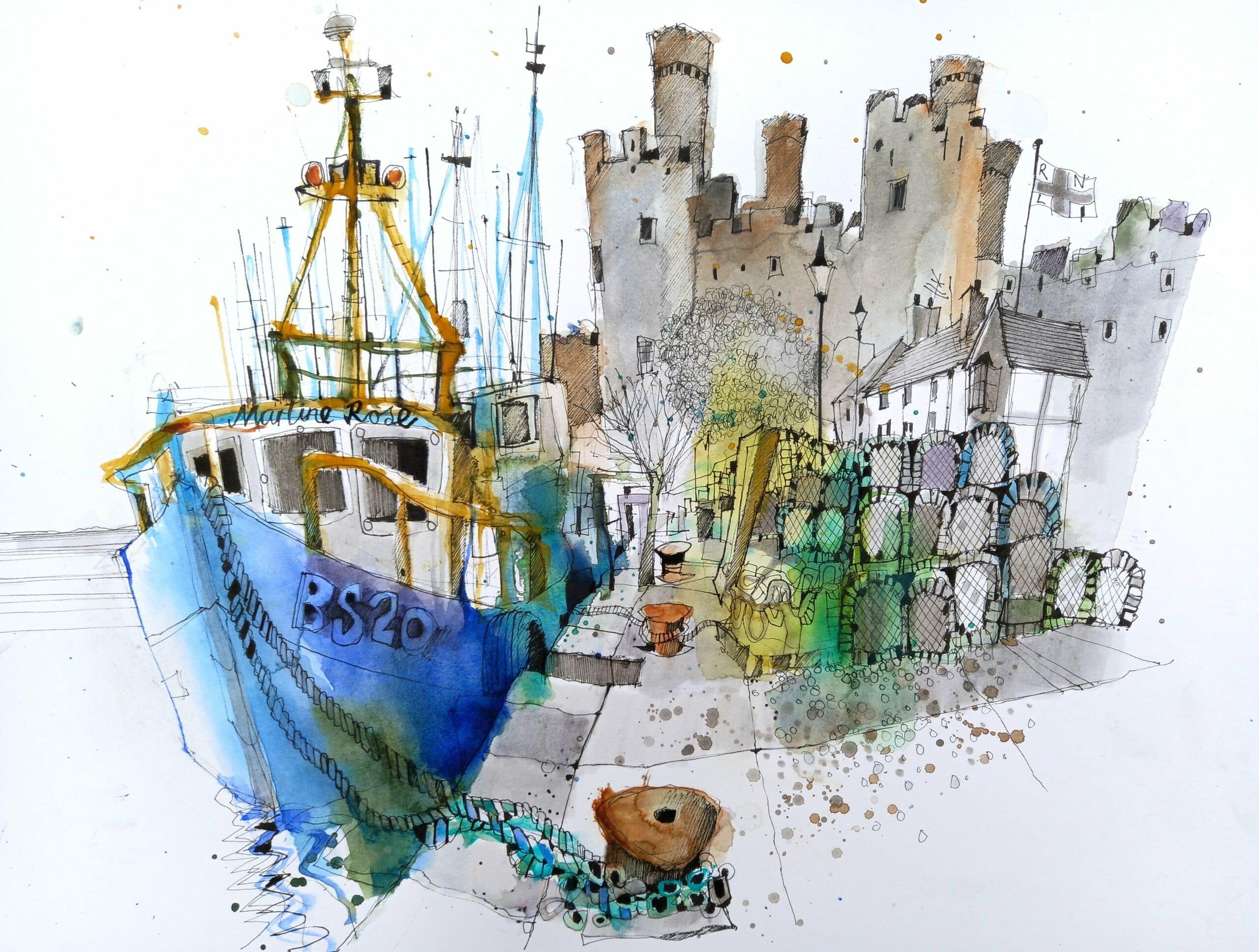 Ian Fennelly Sketching Conwy Castle